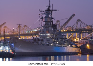 PORT OF LOS ANGELES, CA/USA - AUGUST 31, 2019: image showing the USS Iowa during the fourth annual LA Fleet Week at twilight.