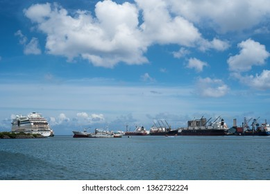 Port Louis / Mauritius - 08.01.2019: Image of the harbor of Port Louis, one of the busiest commercial ports in Africa.