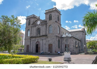 Port Louis, Mauritius - 18 April, 2018: St. Louis Cathedral, is one of the oldest catholic church in Port Louis, Mauritius. It is the seat of the bishop of the diocese of Port-Louis.