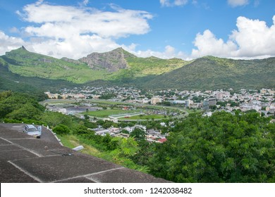 Port Louis, Mauritius - 18 April, 2018: Beautiful view of Champ de Mars Racecourse from Citadel Fort Adelaide. It's the second oldest racecourse in the world.