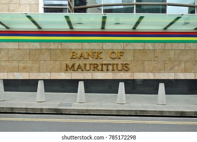 PORT LOUIS, MAURITIUS -5 NOV 2017- View of the Bank of Mauritius Tower, the tallest building in Port Louis, the colonial capital city of the island of Mauritius in the Indian Ocean.