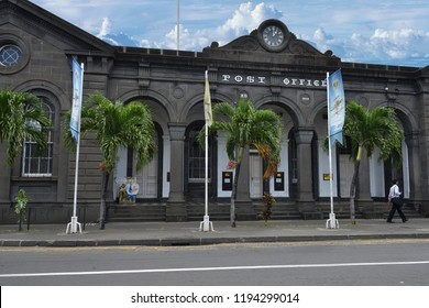 Port Louis, Mauritius - April 29, 2013: Building of the main Post Office in Port Louis capital Republic of Mauritius. The city is the countrys economic, cultural, political centre