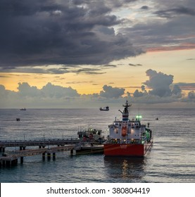 Port Louis, Mauritius - February 13: Fuel carrier vessel at the terminal in Port Louis on February 13, 2016  in Port Louis, Mauritius.