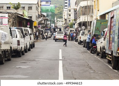 PORT LOUIS, MAURITIUS - February 3, 2016: View to the shopping area in downtown Port Louis, Mauritius.