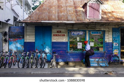 Port Louis, Mauritius - Jan 13, 2017. Grocery store in Port Louis, Mauritius. Port Louis is the country economic, cultural and political centre.