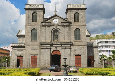 PORT LOUIS, MAURITIUS - NOVEMBER 29, 2012: Exterior of the church of Immaculate Conception in Port Louis, Mauritius.