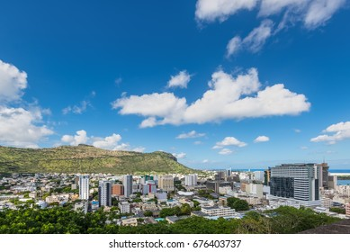 Port Louis Skyline - viewed from the fort Adelaide along the Indian Ocean in Mauritius capital city