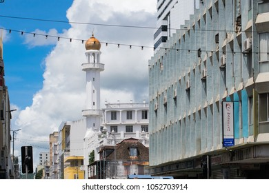 PORT LOUISE / MAURITIUS - February 10 2018: A street view on the Jummah Mosque that combines Indian, Creole and Islamic architecture