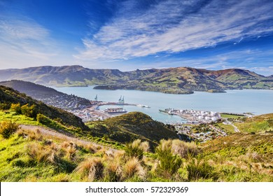 Port of Lyttelton and Lyttelton Harbour looking over to Diamond Harbour, from the Port Hills, Banks Peninsula, New Zealand.