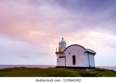 Port Macquarie lighthouse at sunset also know as the Tacking Point Lighthouse