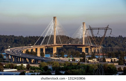 Port Mann Bridge over the Fraser River between Coquitlam city and Surrey city British Columbia.
