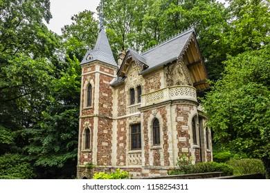 PORT MARLY, FRANCE - JUNE 12, 2018: Chateau d'If in Alexandre Dumas Monte Cristo castle. Chateau de Monte-Cristo - beautiful XIX century building, built for writer Alexander Dumas in 20 km from Paris.