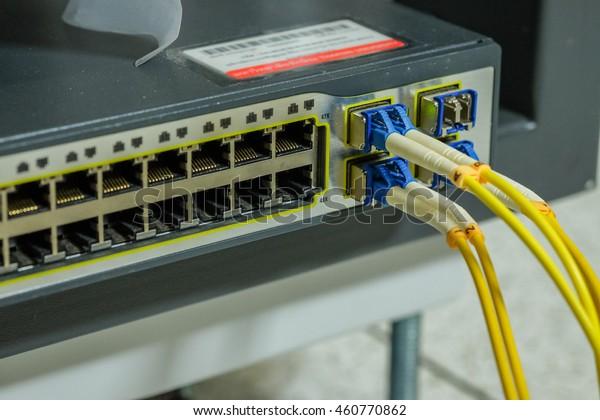 Port Module Fiber Optic Cable Connection Stock Photo (Edit