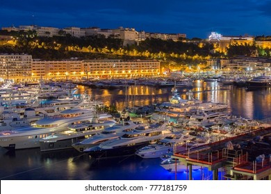 The Port of Monaco in the Principality of Monaco, a sovereign city state, located on the French Riviera.