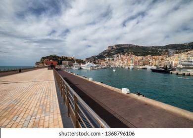 Port of Monaco from Quai Rainier III promenade on Mediterranean Sea, southern Europe