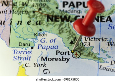 Port Moresby capital of Papua New Guinea. Copy space available.
