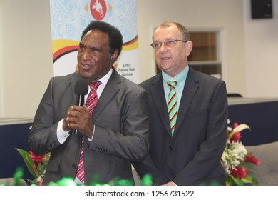Port Moresby, NCD/PNG - December 13 2018: DHERST Minister, Hon. Pila Niningi (left) with Secretary, Fr. Jan Czuba, addressing selectors from via video conference during the online selection launch.
