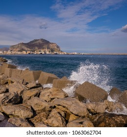 The port with Mount Pellegrino and Utveggio Castle in the background, Palermo, Sicily, Italy