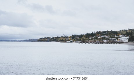 Port of  Mukilteo, WA on the pacific coast on a grey fall day day