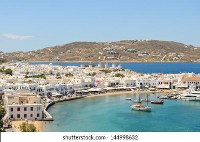Port of Mykonos Town on the sea in Mykonos, Greece