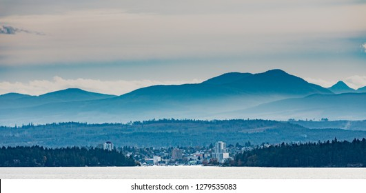 Port of Nanaimo, small city surrounded by forest and mountains of Vancouver Island, British Columbia, BC, Canada