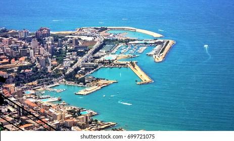 Port near Jounieh Beach seen from the top of Mount Harissa in Beirut, Lebanon