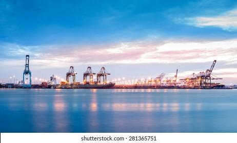 Port Newark-Elizabeth marine terminal viewed from Bayonne, NJ across Newark Bay.