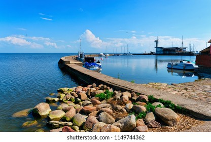 Port in Nida town near Klaipeda in Neringa in the Curonian Spit at the Baltic Sea in Lithuania.