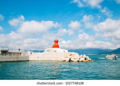 Port, Oedo-Botania island at summer day in Geoje, Korea