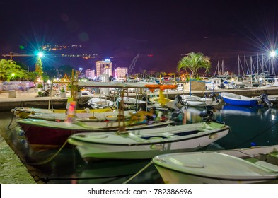 Port in old town Budva at night, Montenegro