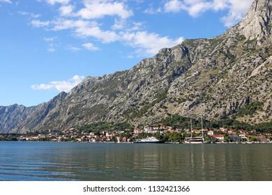 Port and old town Kotor landscape Montenegro