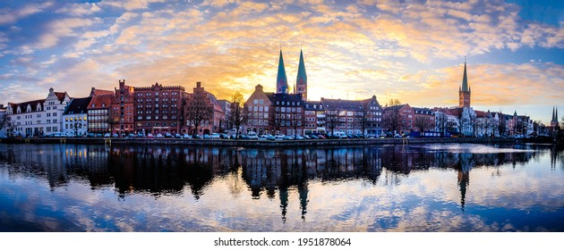 port at the old town of lubeck (lübeck) in germany