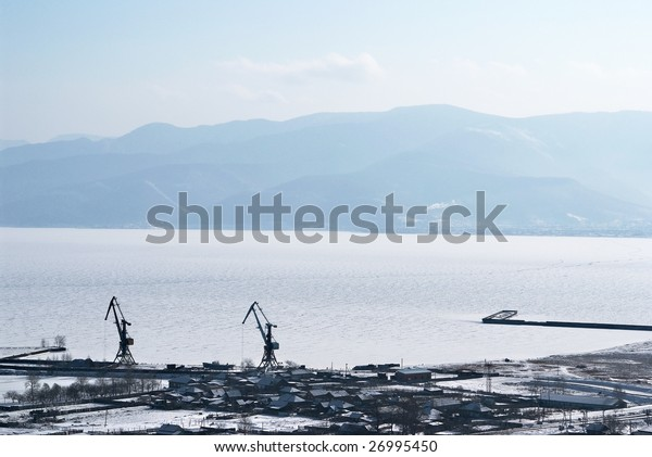 Port on Baikal lake. Sludanka town