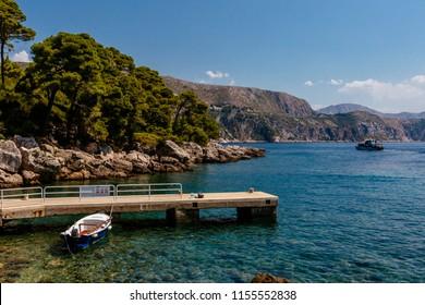 Port on the island of Lokrum, with boats, near Dubrovnik, Croatia