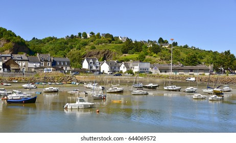 Port on the river Gouet at Saint-Brieuc, commune in the Cotes of Armor department in Brittany in northwestern France.