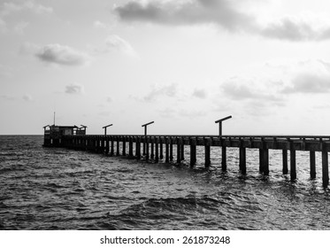 port on sea : black and white