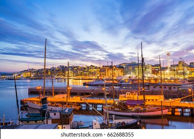 Port of Oslo city in Norway at night.