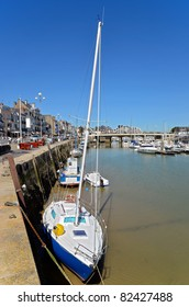 Port of Pouliguen at low tide in Pays de la Loire region in western France