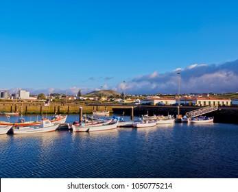 Port in Praia da Vitoria, Terceira Island, Azores, Portugal