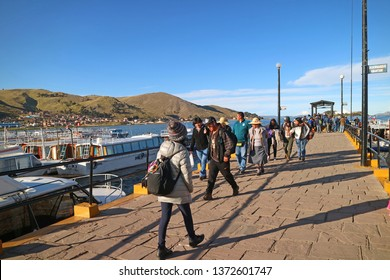 Port of Puno, where people access to the Uros floating island from the town of Puno, Peru, 29th April 2018