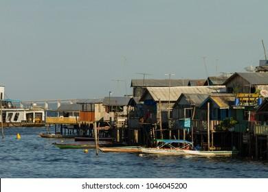 Port region of Manaus city. 'Palafitas' popular houses. Manaus, Amazon / Brazil