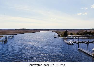 Port Republic, NJ / USA - April 19 2020: Picture of marina on Mullica River