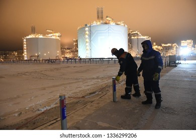 Port Sabetta, Yamal, Russia, December 9, 2018, Yamal - LNG natural gas production and transportation plant