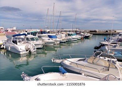 Port of Saintes-Maries-de-la-Mer, a commune in the Bouches-du-Rhône department by the Mediterranean Sea in the south of France