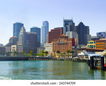 Port of San Francisco with modern buildings of downtown, California, USA