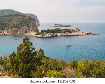 port of San Miguel, Ibiza, Spain, aerial view from one of the cliffs surrounding the area