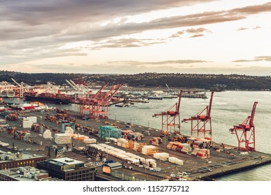 Port of Seattle along Puget Sound, view from the Smith Tower, Washington, USA