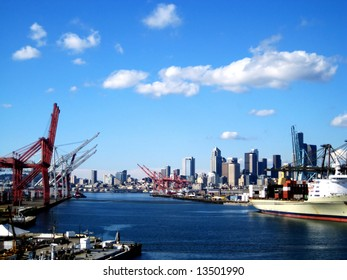 Port of Seattle was captured from the highway bridge going to West Seattle with a viewpoint of downtown from the South.