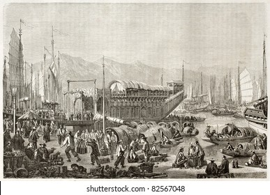 The port of Shanghai, old illustration. Created by Grandsire after Trevise, published on Le Tour du Monde, Paris, 1860