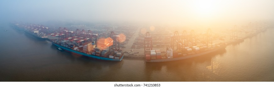 port of shanghai yangshan panorama in morning fog, aerial view of China's largest container terminal
